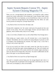 Septic System Repairs Conroe TX - Septic System Cleaning Magnolia TX.doc
