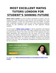 Most Excellent Maths Tutors London for Student's Shining Future.docx